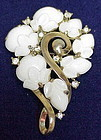 TRIFARI crown ART DECO WHITE FRUIT SALAD RHINESTONE