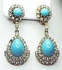 Ciner faux turqoise & diamond drop pendant earrings
