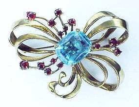 Ciner sterling prong set aqua & ruby rhinestone bow pin