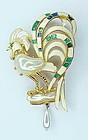 Carnegie enamel MOP white rooster pendant / brooch