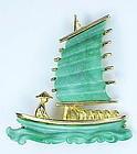 Hattie Carnegie oriental coolie man & sailing ship pin