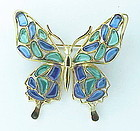 Trifari poured glass mosaic butterfly brooch