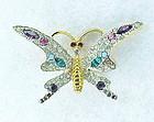 Jomaz multi color rhinestone butterfly brooch