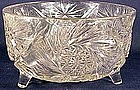 American Brilliant cut glass 3 footed fern bowl
