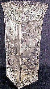 Floricut Marjorie square vase pressed & cut(U.S.Glass)