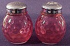 Fenton ruby overlay thumprint salt and pepper shakers