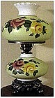 Victorian hand painted yellow and red rose table lamp
