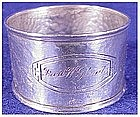 Sterling: Hammered napkin ring with cartouch- Webster