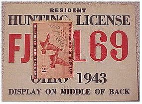 Ohio 1943 resident hunting  & trapping license