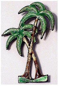 Sterling & enamel palm tree pin
