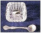 """Salt spoon """"George & Martha"""" +Cambrige crystal salt dip"""