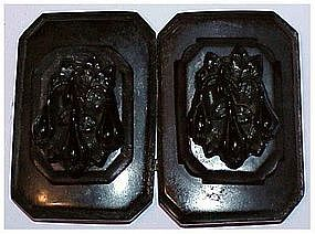 Whitby jet Victorian hand carved floral belt buckle