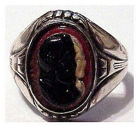 Sterling double cameo triplet ring -Victorian