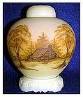 Fenton Log Cabin on Custard three piece ginger jar