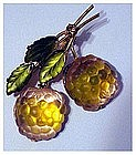 Austrian Fruit Berries pin with green glass gilt leaves