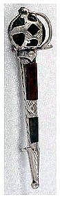 Antique Culloden broadsword kilt pin multicolor agates