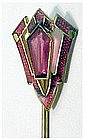 Art Deco gold filled ruby scarf pin / stick pin