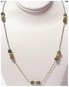 "14K & jade bead necklace  (21"" long)"