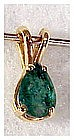 14K .7 Cts emerald pear shaped pendant