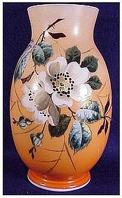 Bristol glass vase hand painted - English