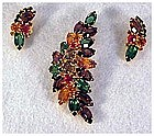 Juliana: fruit salad unfoiled rhinestone pin & earrings