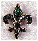 Enameled fleur de lis watch pin holder - Victorian