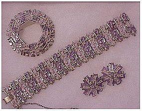 Coro Pegasus Lavender bracelet,pin & earrings