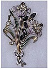 1940s Enamel & Rhinestone flower spray brooch / pin