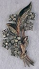 Sterling vermeil floral spray pin with white rhinestone