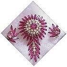 Juliana: pink navette rhinestone pin and earrings