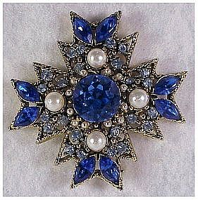 Maltese Cross pearls, blue rhinestones gold color