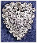 Eisenberg rhinestone heart pin- unsigned- very large
