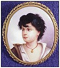 Boy portrait on porcelain pin- Antique Victoria