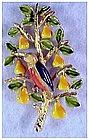 "Cadoro ""Patridge in a Pear Tree"" enameled pin / brooch"