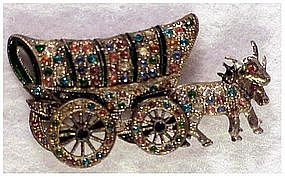 Enamel Rhinestone Covered Wagon & oxen pin with...
