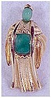 Asian figure flowing robes, cabochon belly & face