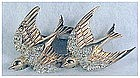 Corocraft 'Heavenly Swallows' duette fur clips pin
