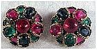 Trifari multicolor cabochon fruit drop cluster earrings