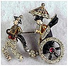 Rickshaw pot metal pin,enamel,moving wheels(DuJay?)1939