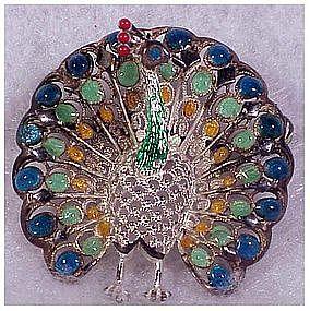 Alice Caviness sterling German peacock pin / brooch