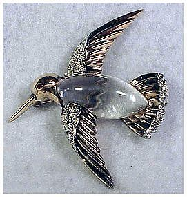 Trifari 'Alfred Philippe' Jelly Belly Hummingbird pin