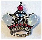 Trifari 'Alfred Philippe' jelly opal, ruby crown pin