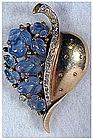 Trifari 'Alfred Philippe' Flora leaf blue fruit salad p