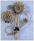 CoroCraft sterling vermeil sunflower brooch