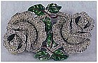 Coro 'Jewels of Fantasy' pave enamel double rose duette