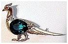 Reja Sterling aquamarine pheasant pin -  1 3/4 x 1 1/4