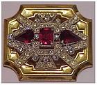 McClelland Barclay Deco ruby brooch