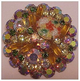 Juliana round coral splattered gold cabochon pin