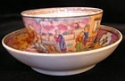 Newhall Teabowl & Saucer with Boy-In-Window Pattern