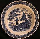 Caughley Soft Paste Porcelain Plate, Fisherman Pattern